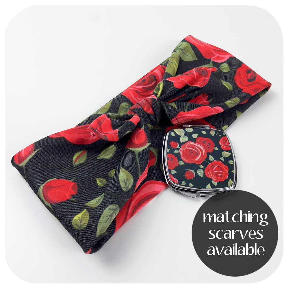 Rockabilly Rose Headscarf and compact mirror | The Inkabilly Emporium