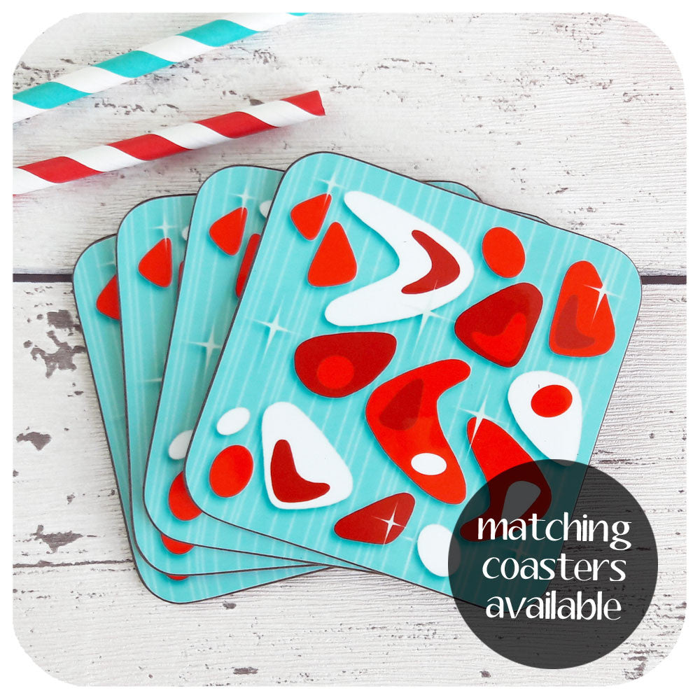 Atomic Boomerang Coasters available to match placemats  | The Inkabilly Emporium