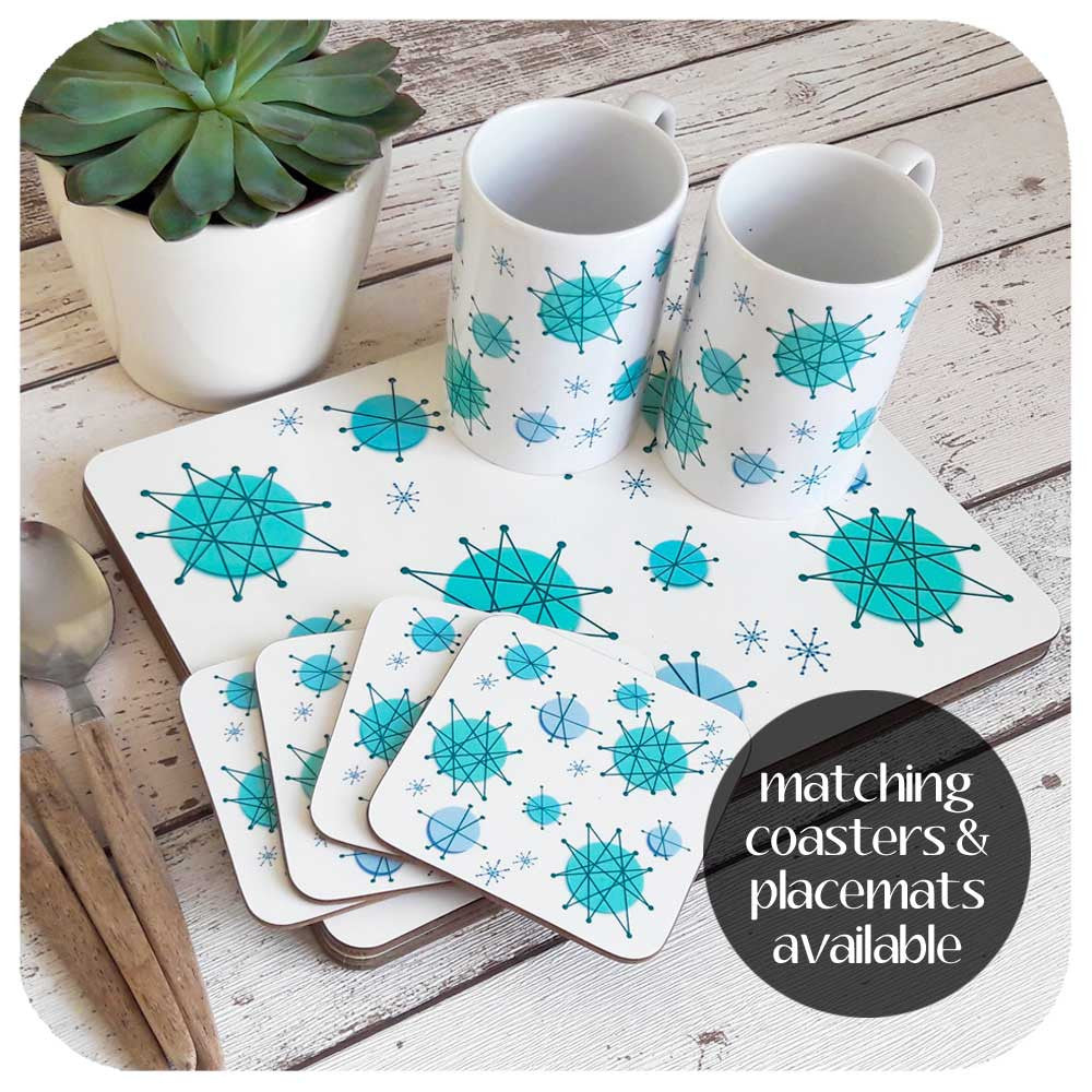 Atomic Starburst tableware set. Matching mugs, coasters and placemats  | The Inkabilly Emporium
