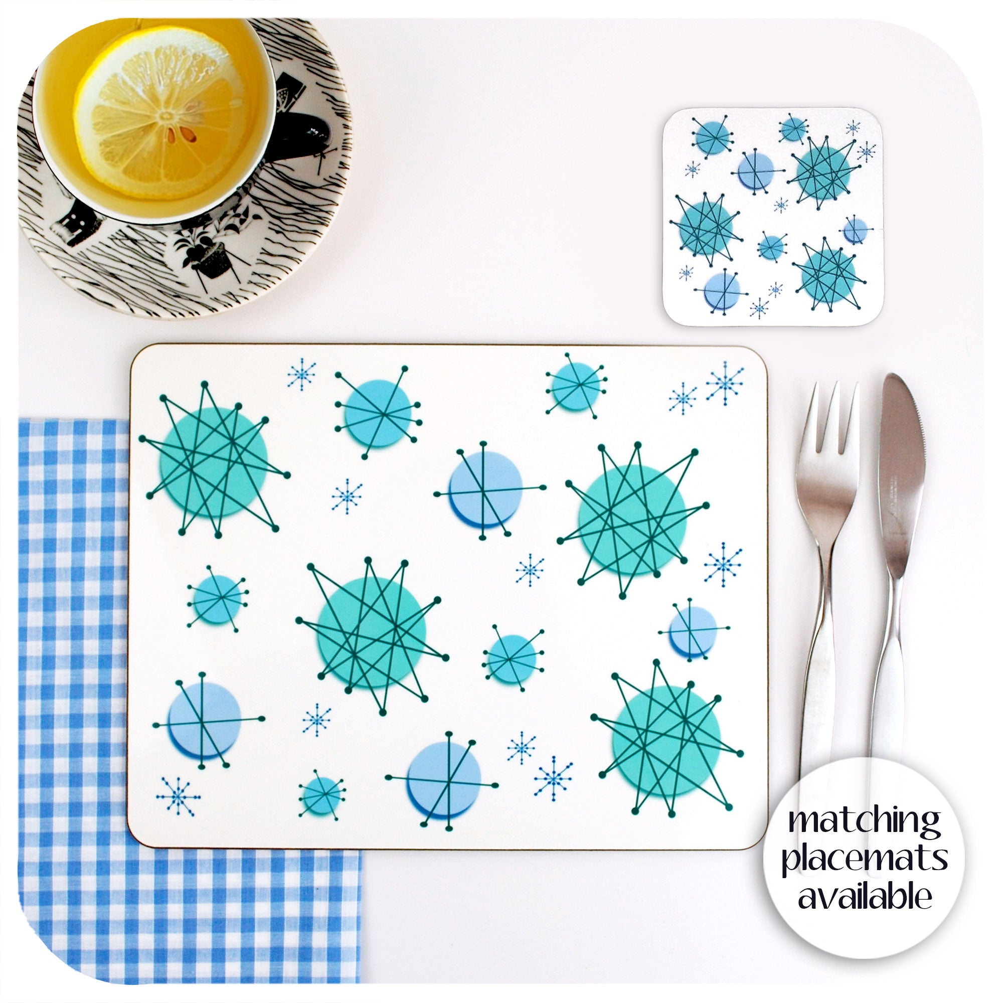 Atomic Franciscan Starburst Tableware Set. Matching Atomic Coasters and Placemats  | The Inkabilly Emporium
