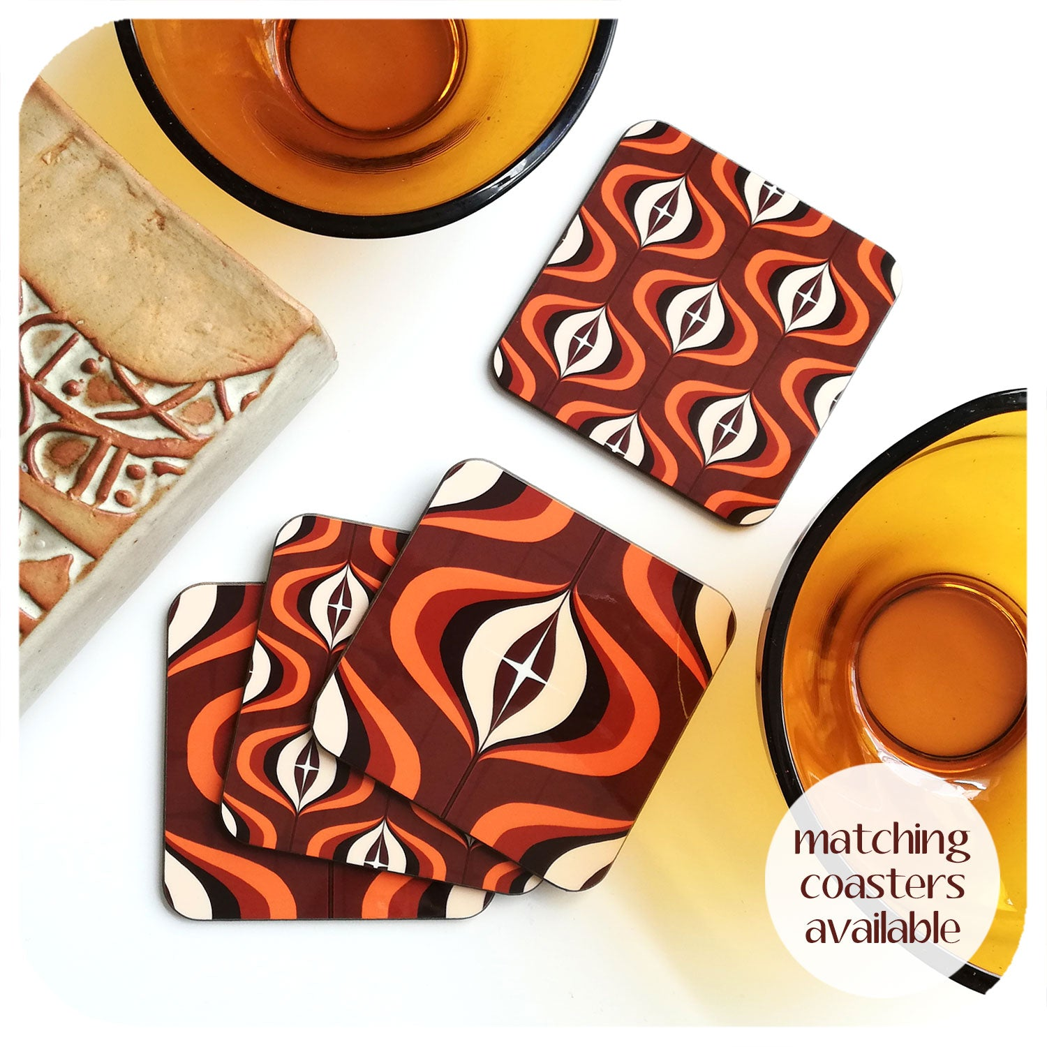 70s Style Op Art Coasters in Orange and Brown, set with vintage tableware | The Inkabilly Emporium