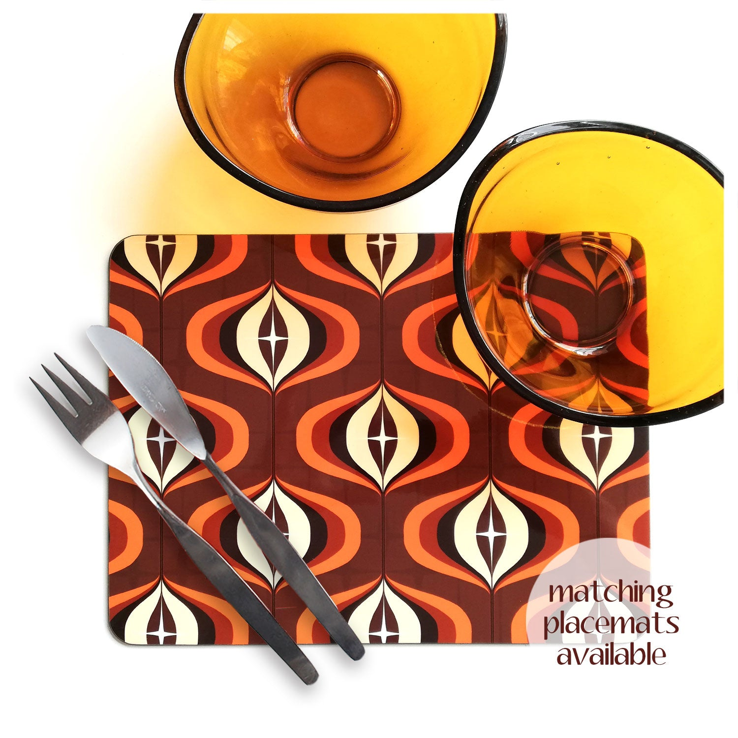 70s Op Art placemat in Brown and Orange with cutlery and vintage 70s bowls | The Inkabilly Emporium