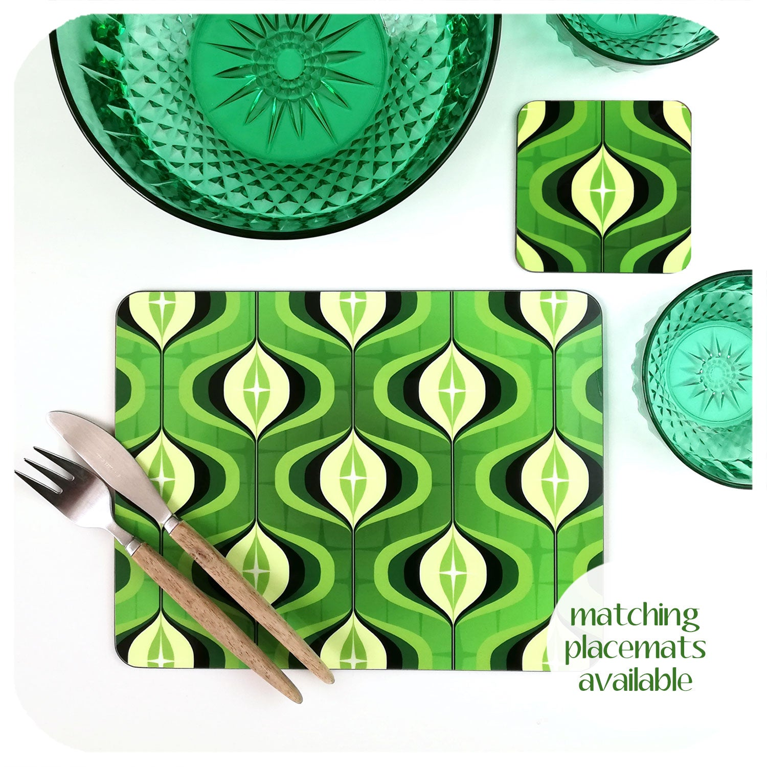Green 70s Op Art placemats available | The Inkabilly Emporium