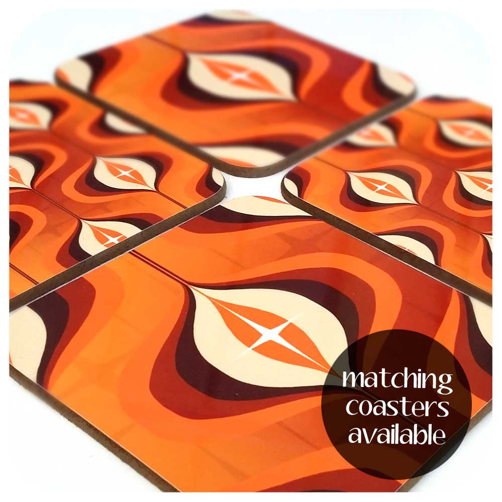 Matching 1970s op art orange coaster set available