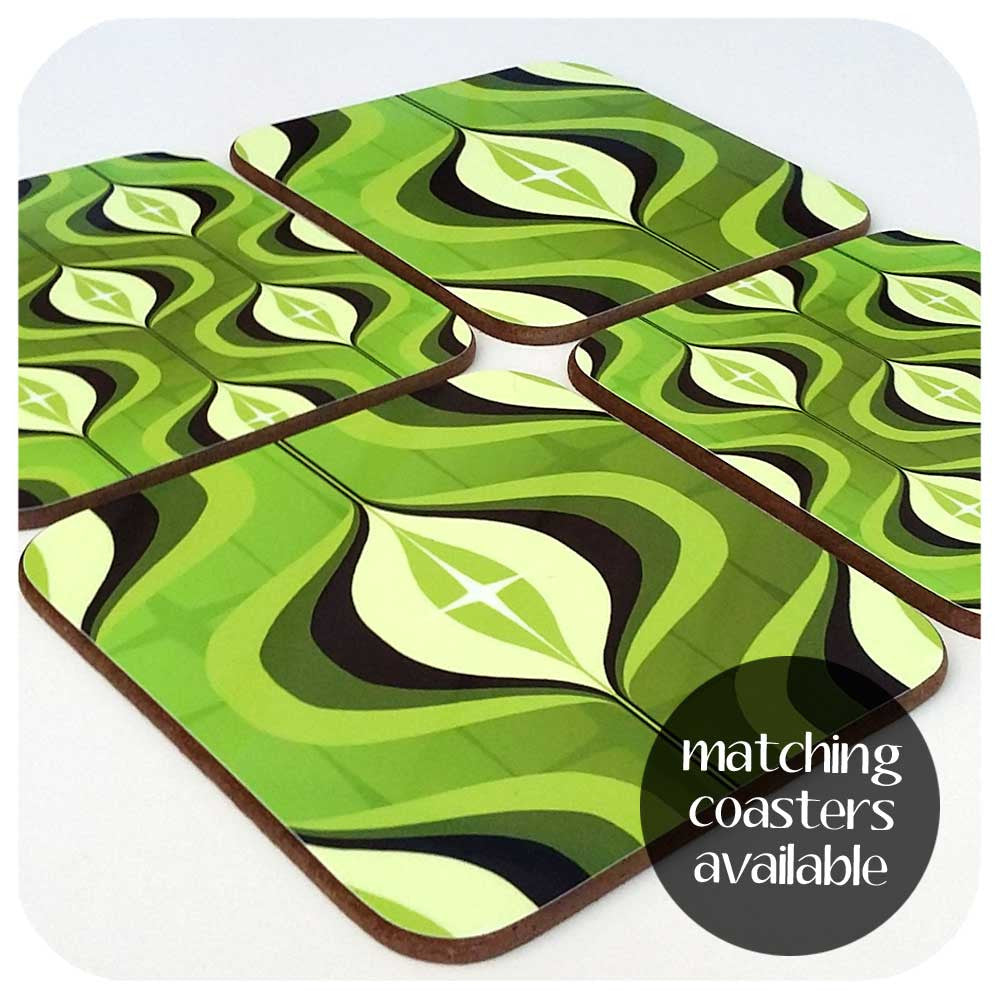 Matching 1970s op art green coaster set available