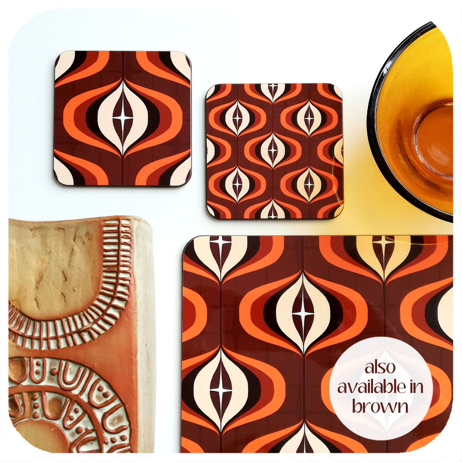 1970s Op Art Placemats & coasters in brown | The Inkabilly Emporium