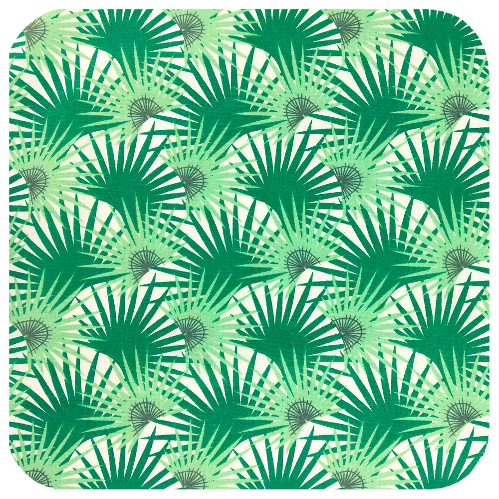 Palm Leaf Bandana, close up on fabric | The Inkabilly Emporium
