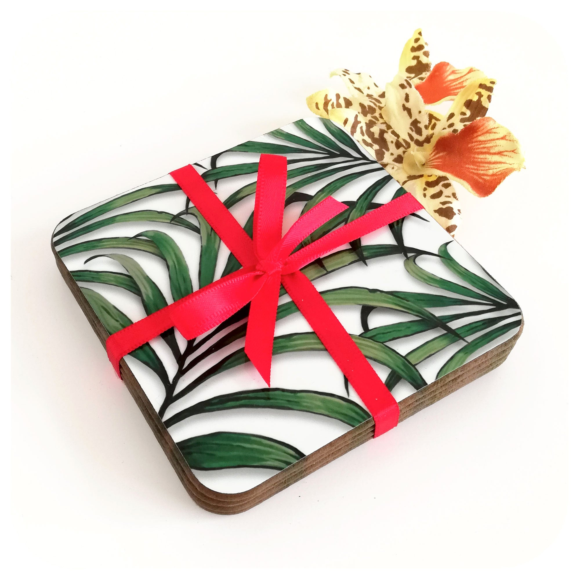 Palm Leaf Print Coasters, tied with red ribbon | The Inkabilly Emporium
