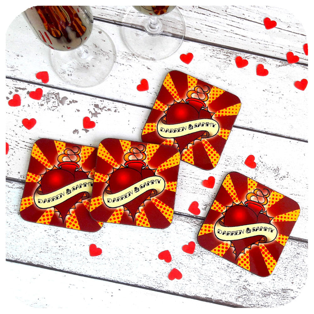 Wedding Coaster Set, Custom Love Heart, Anniversary Gift | The Inkabilly Emporium