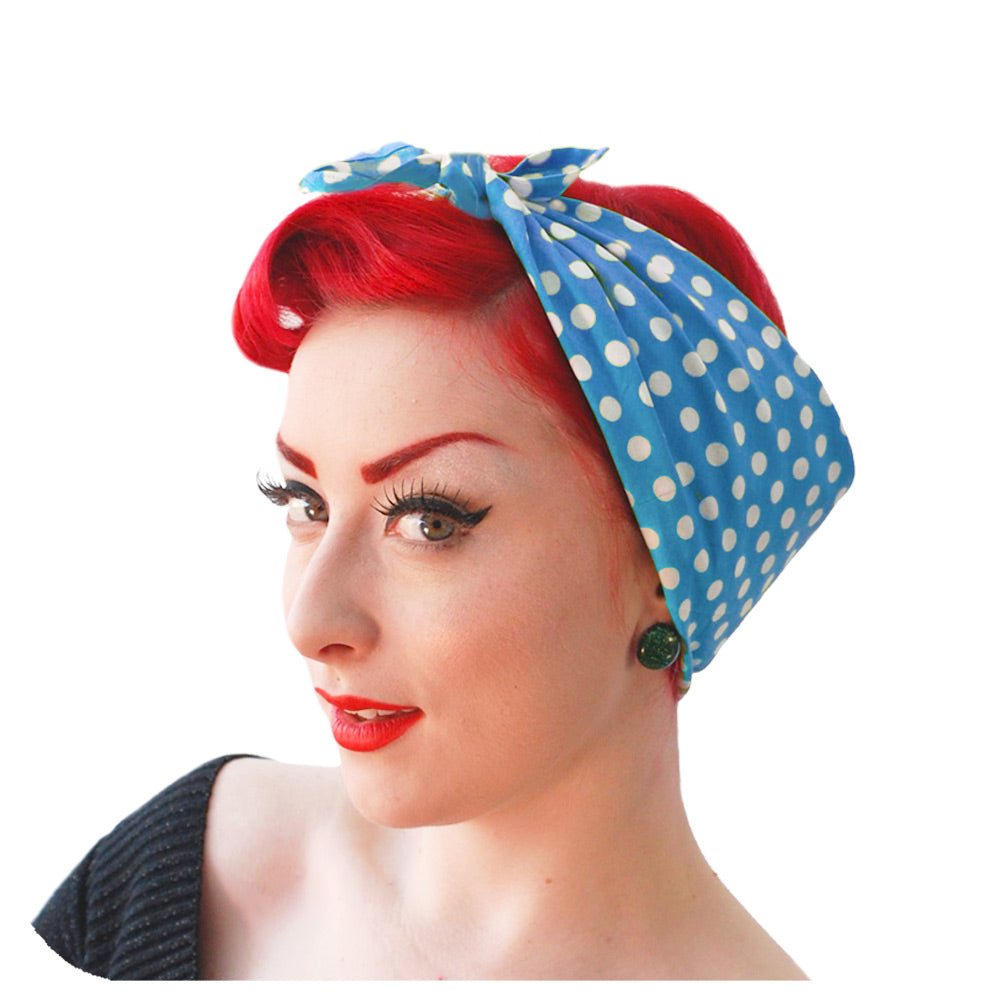 Pale Blue Polka Dot Bandana | The Inkabilly Emporium