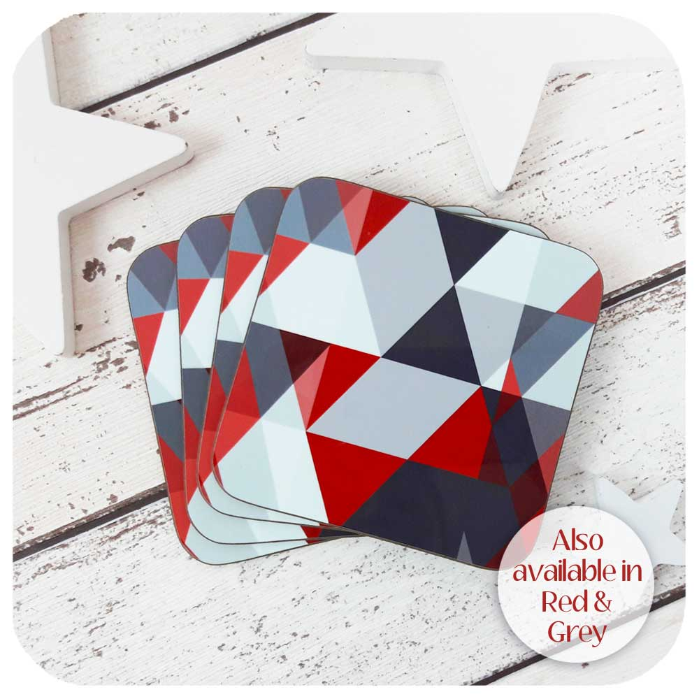 Scandi Coasters in Red and Grey | The Inkabilly Emporium