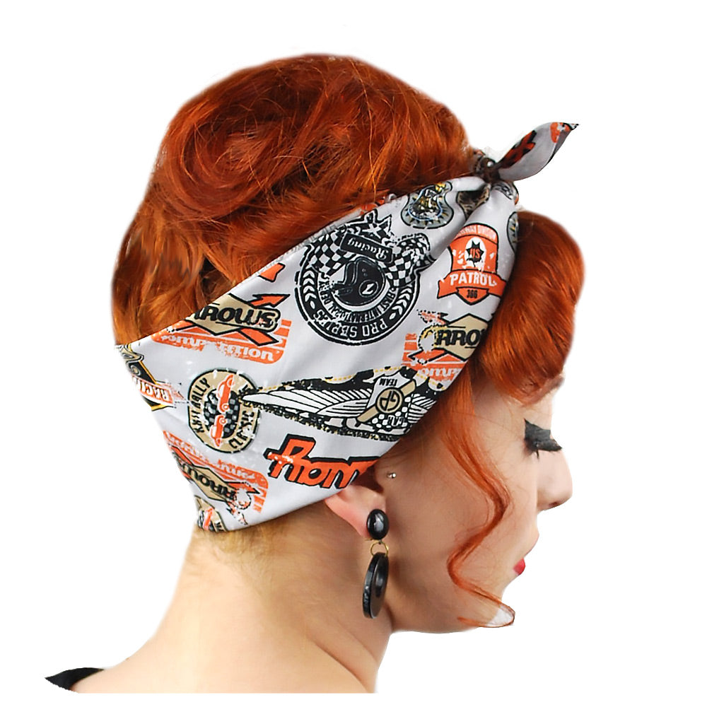Speedway Bandana in Grey, side view | The Inkabilly Emporium