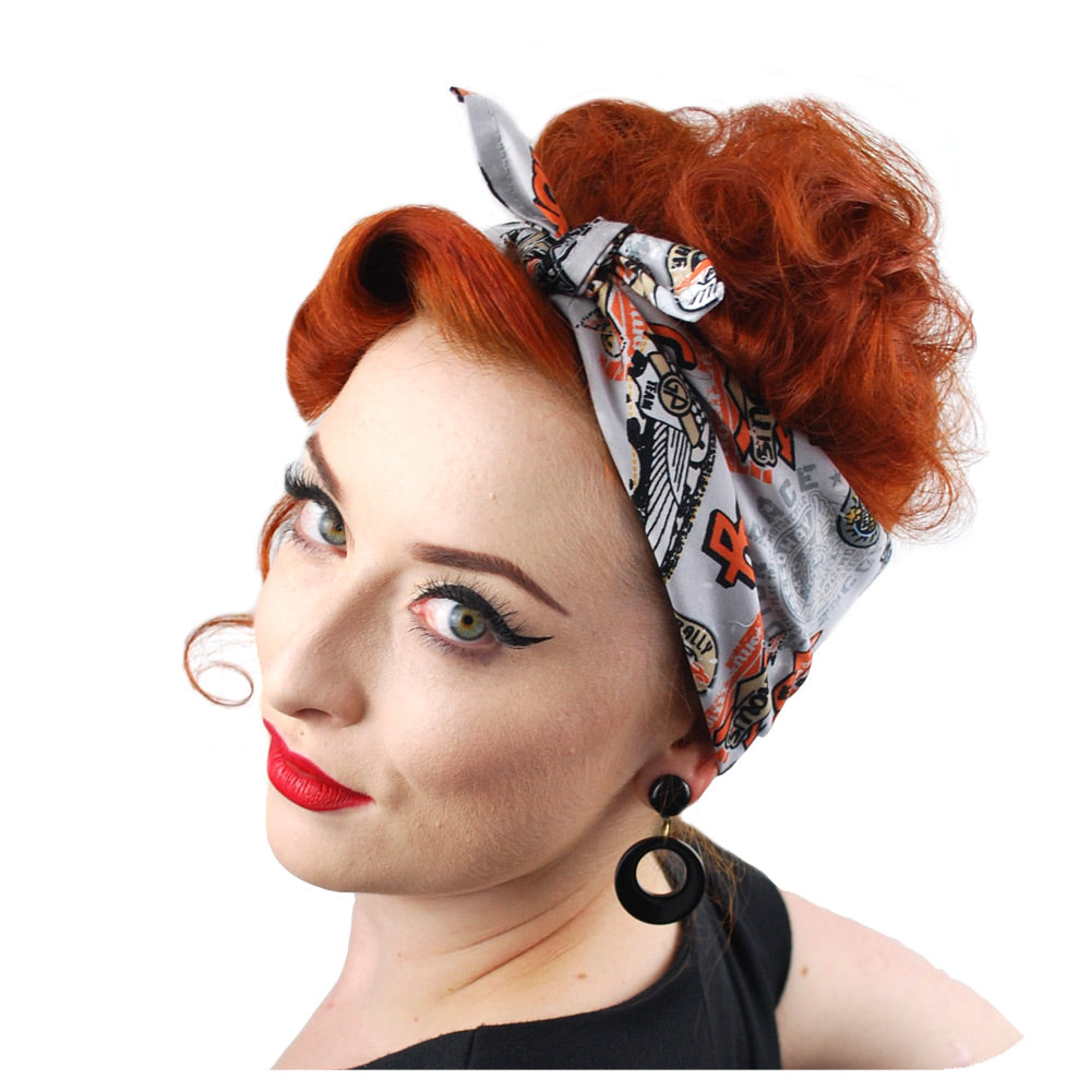 Retro Speedway Bandana in Grey | The Inkabilly Emporium