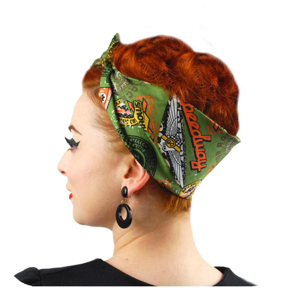 Speedway bandana in olive | The Inkabilly Emporium