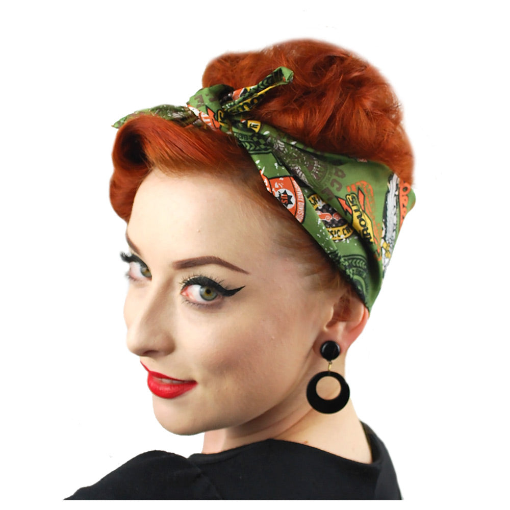Retro Speedway bandana in olive | The Inkabilly Emporium