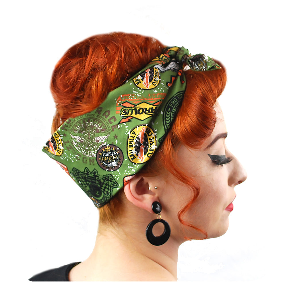 Speedway bandana in olive, side view | The Inkabilly Emporium