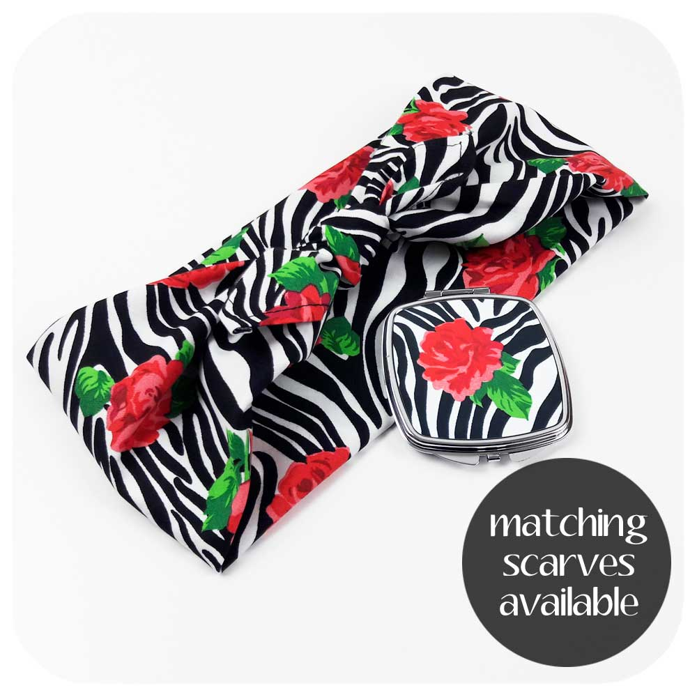 Matching Zebra Rose Bandana and compact mirror | The Inkabilly Emporium