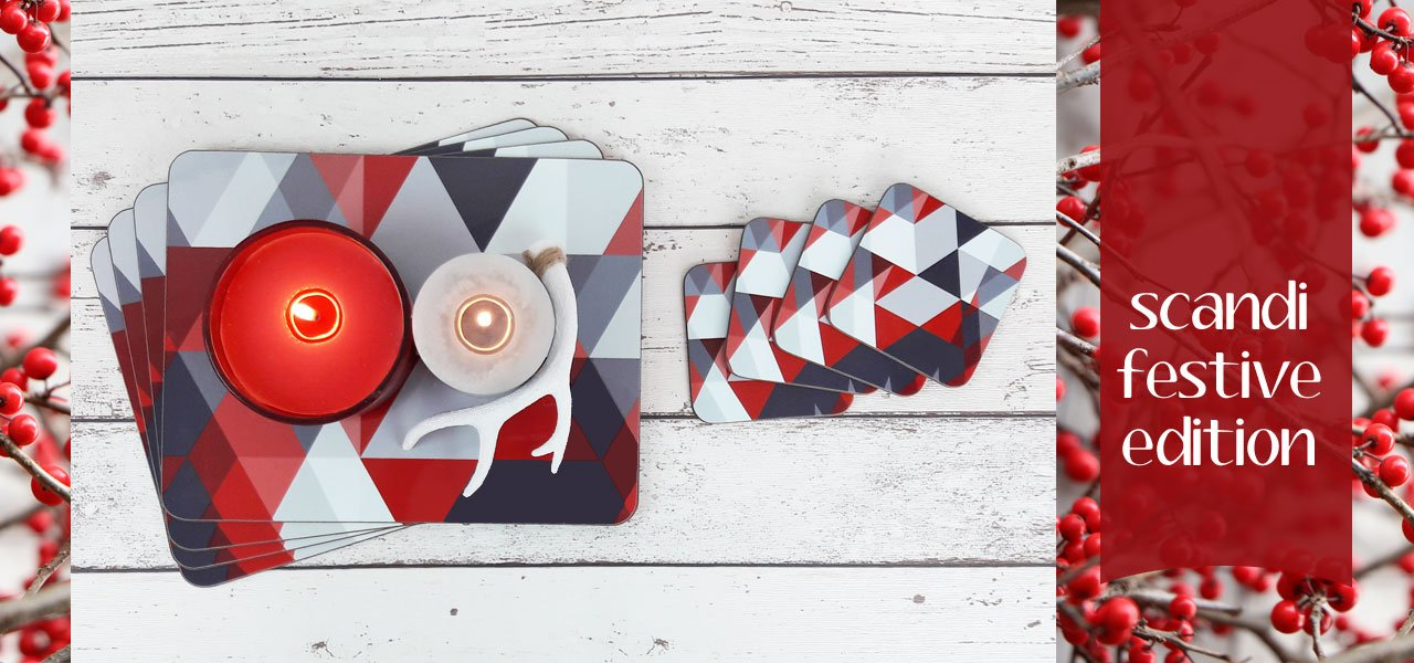 Scandi Christmas Coasters and Placemats | The Inkabilly Emporium