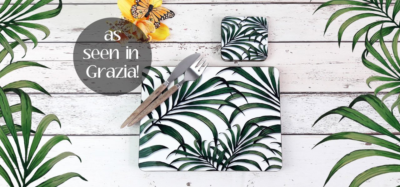 Palm Leaf Print Placemats and Coasters as featured in Grazia Magazine | The Inkabilly Emporium