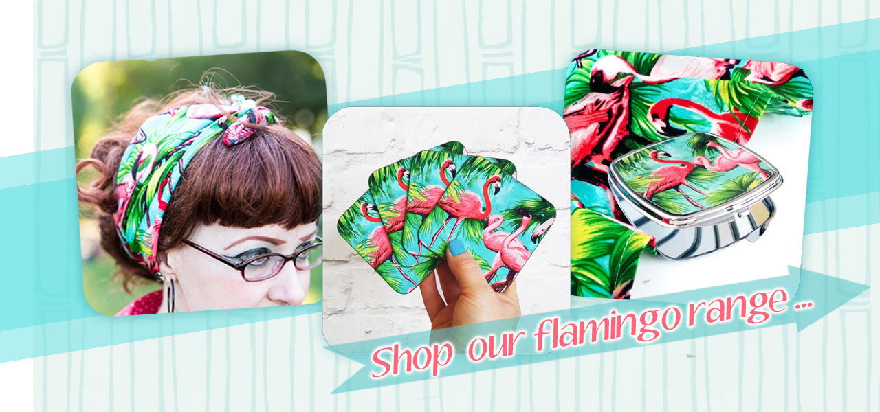 Flamingo Bandanas, Coasters and Compact Mirrors