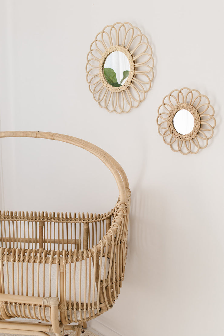 Rattan mirror - Flower small (PRE ORDER ITEM - MARCH ARRIVAL)