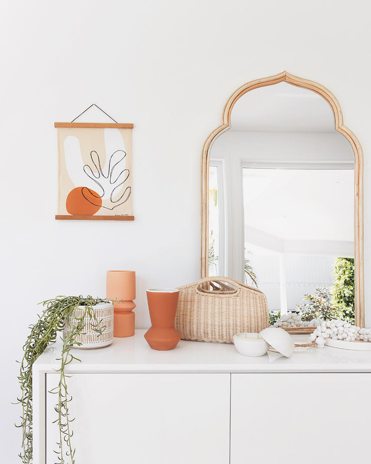 Rattan mirror Tudor - large (BRISBANE PICK UP ONLY)