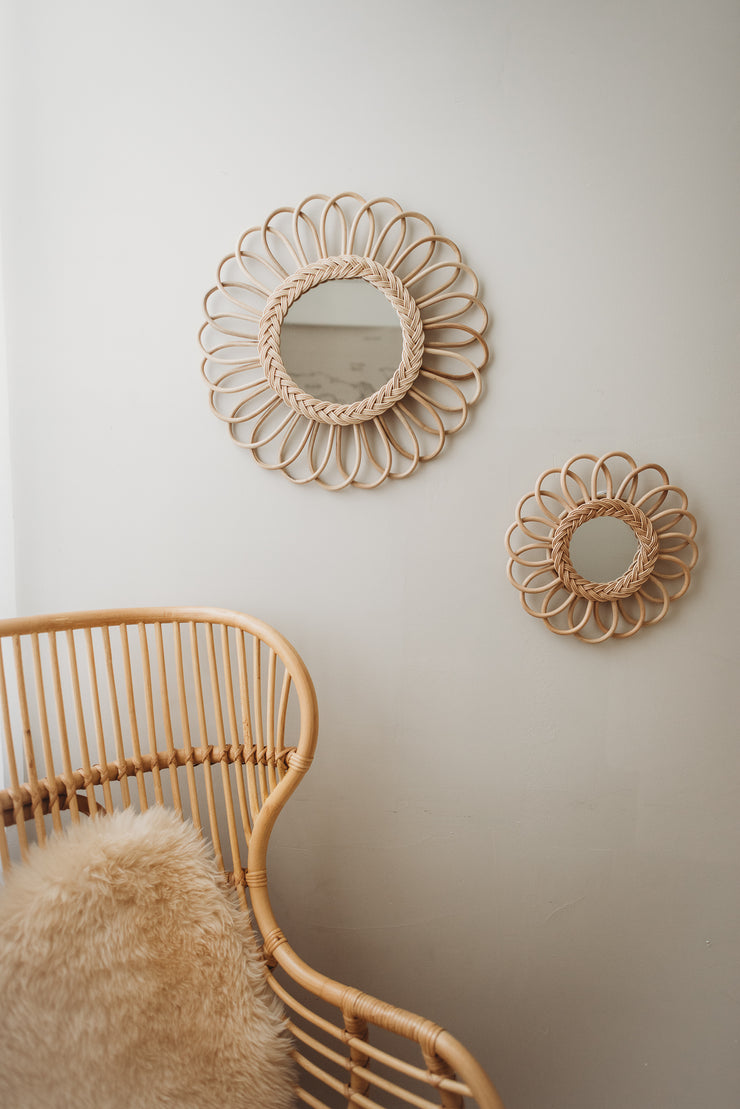 Rattan mirror - Flower large (PRE ORDER - AUGUST ARRIVAL)