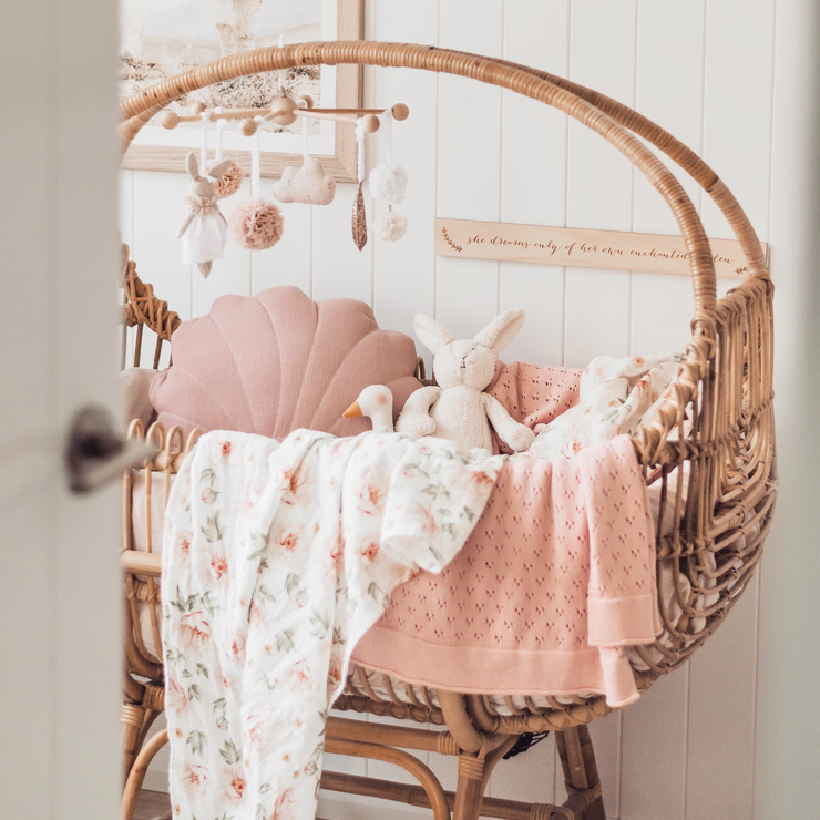 Rattan bassinet - Sol (PRE ORDER FOR EARLY MAY ARRIVAL) *bulky delivery