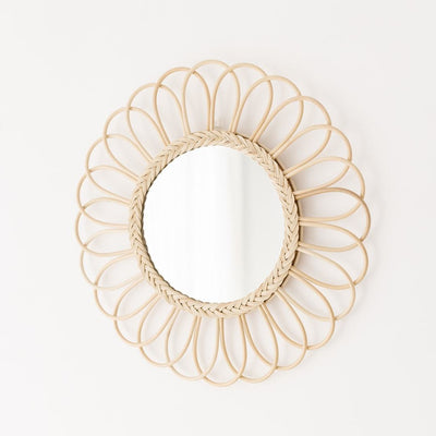 Rattan mirror -  flower extra large