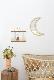 Rattan mirror - crescent moon