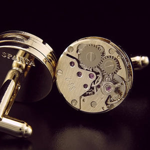 Watch movement gold cufflinks