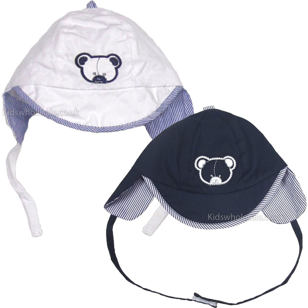 Boys Motif Embroidered Cap W/Ears - Bear - 0-6M (0201)