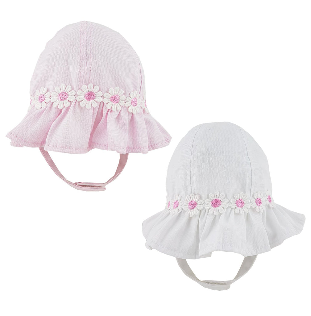 Baby Girls Broderie Anglaise Hat Summer Sun Bucket Hat White Pink Lace 6-18 Mths