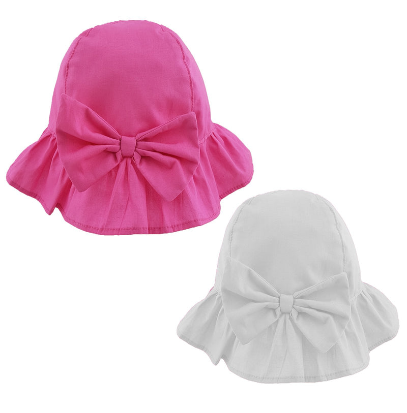 Girls Bow Frill Cloche Hat (0-6 Months) 0271 - Kidswholesale.co.uk
