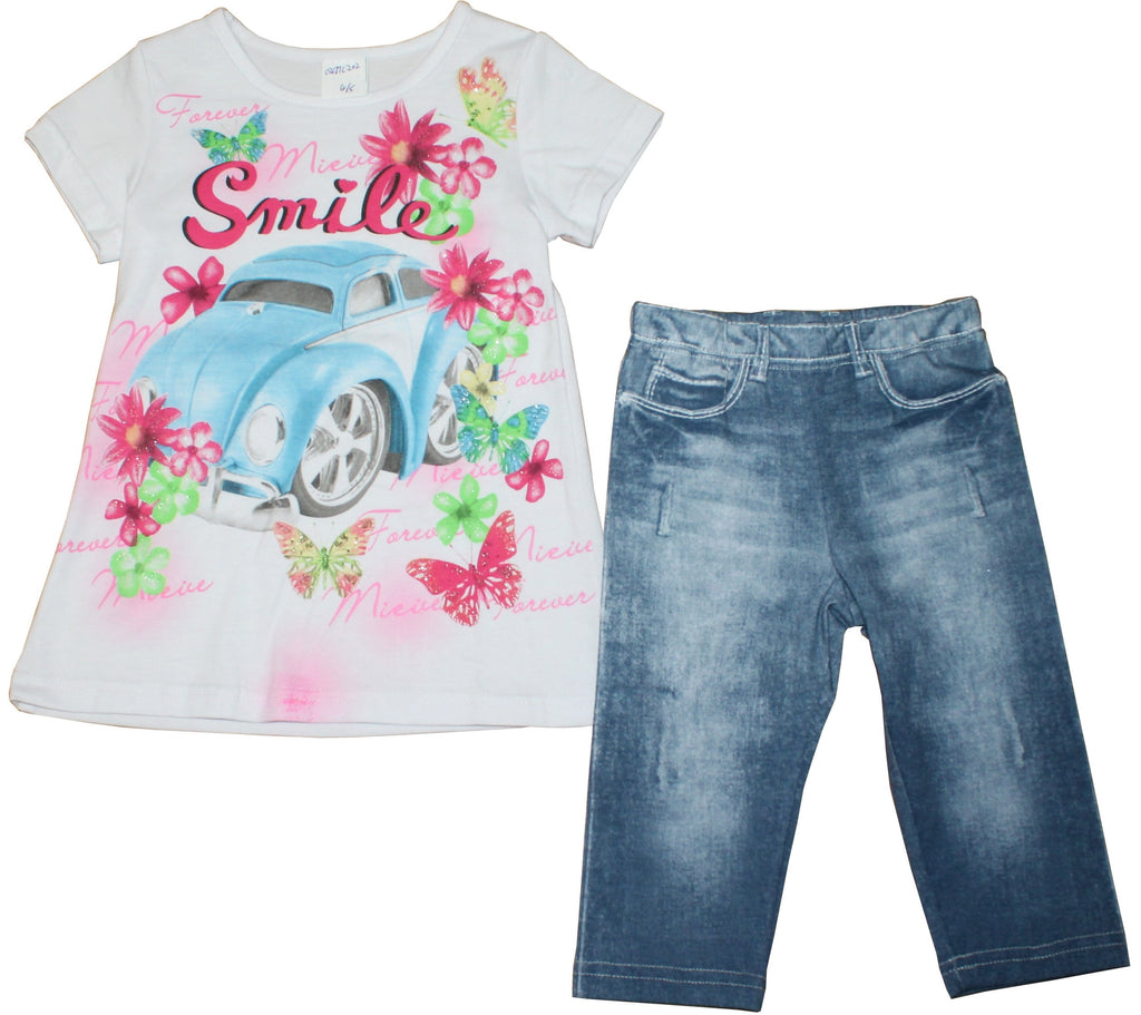 Girls Top & Jeans Set - Smile - 2-6Yrs - (04JTC202)