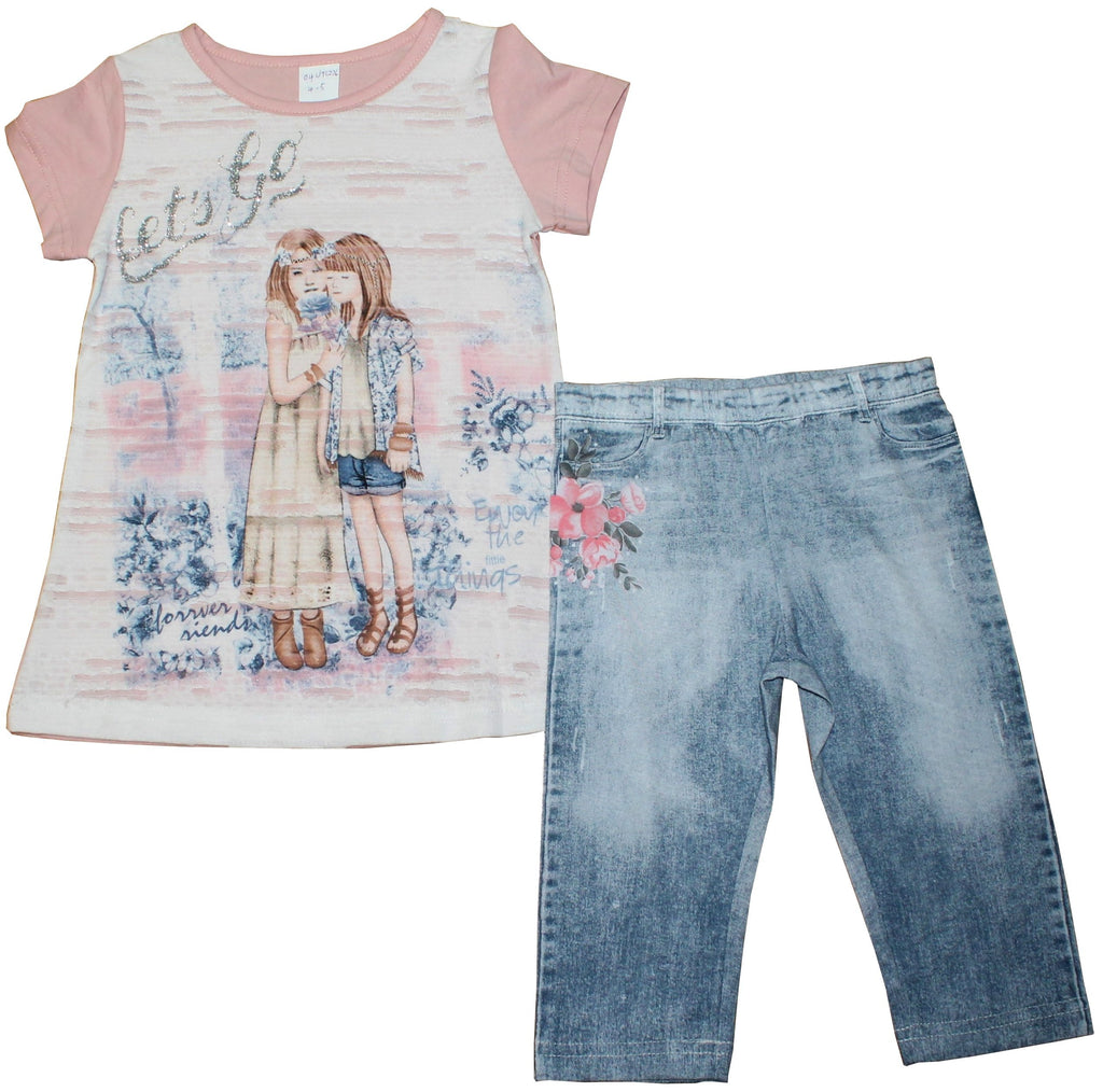 Girls Top & Jeans Set - Let's Go - 2-6Yrs - (04JTC226)