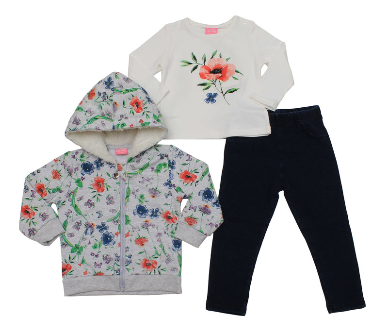 Baby Girls 3pc Hooded Track Set - Flowers - 6-24M - (04JTC8091) - Kidswholesale.co.uk