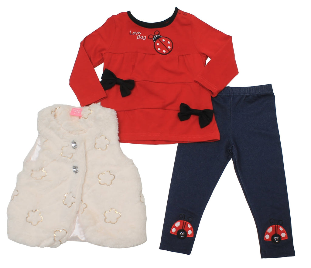 Baby Girls Fur Gilet Legging Set - Lady Bug - 6-24M - (04JTC8231)