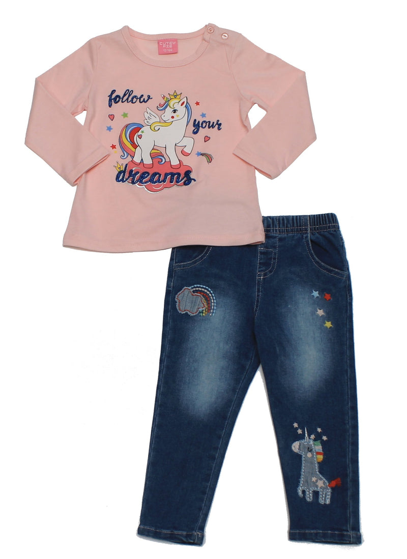 Girls 2pc Jean/Top Set -Unicorn (6-24m) 04JTC8319 - Kidswholesale.co.uk