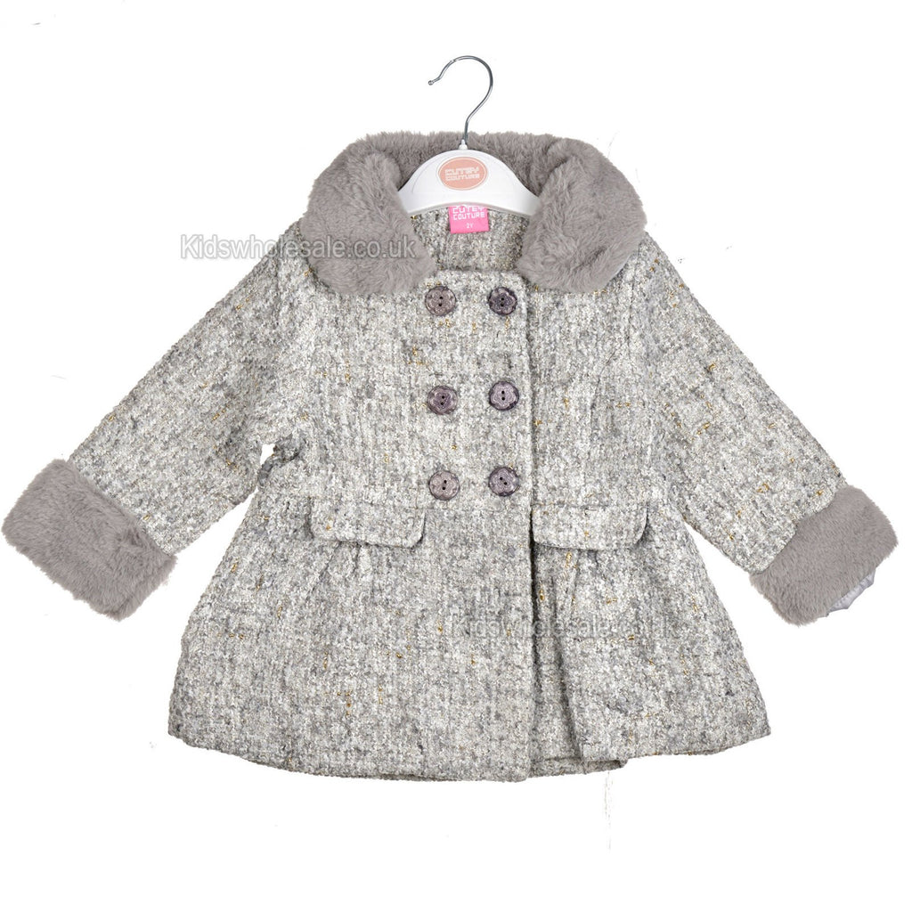 Baby Girls Fur Lined Coat - Grey - 1-3 Years (04JTC454)