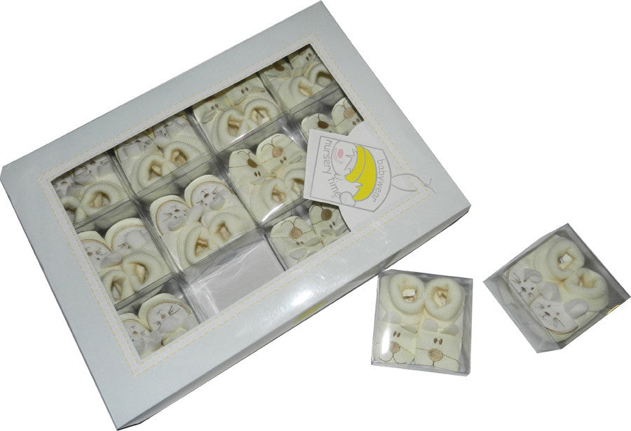 Booties Assorted in a Box -Cream Faces