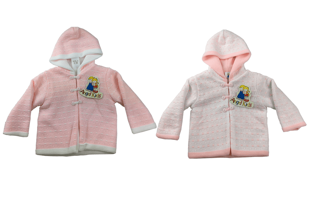 Baby Hooded Cardigan - Pink/White