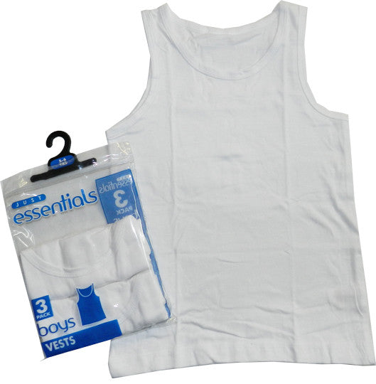 Boys Plain White Vests