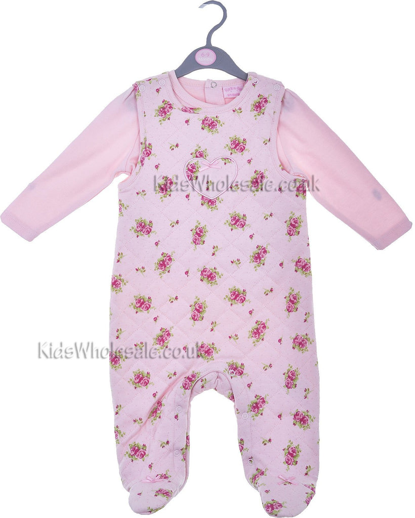 Baby Girls Floral Quilted Overall & Top Set (0-9 Months)