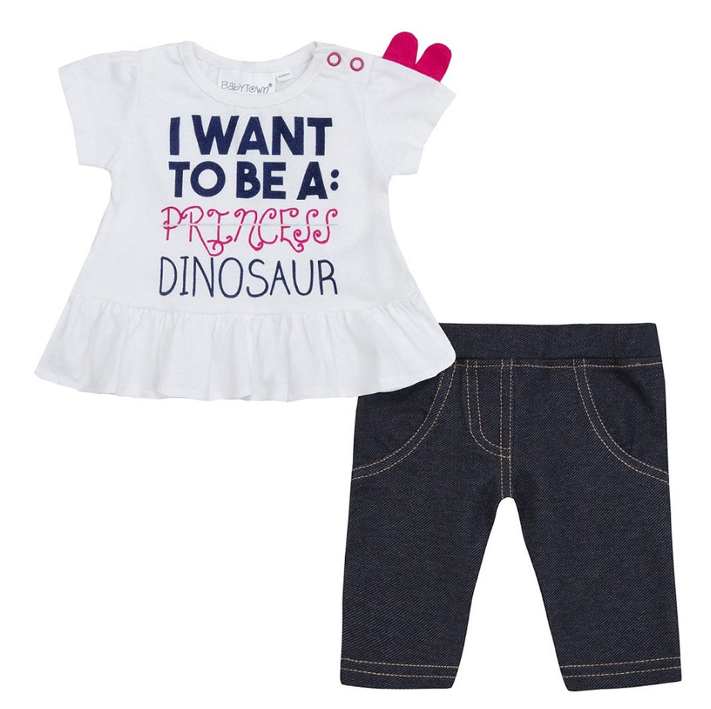 Baby Girls Princess Dino Tunic & Legging Set (NB-24 Months) 15C318