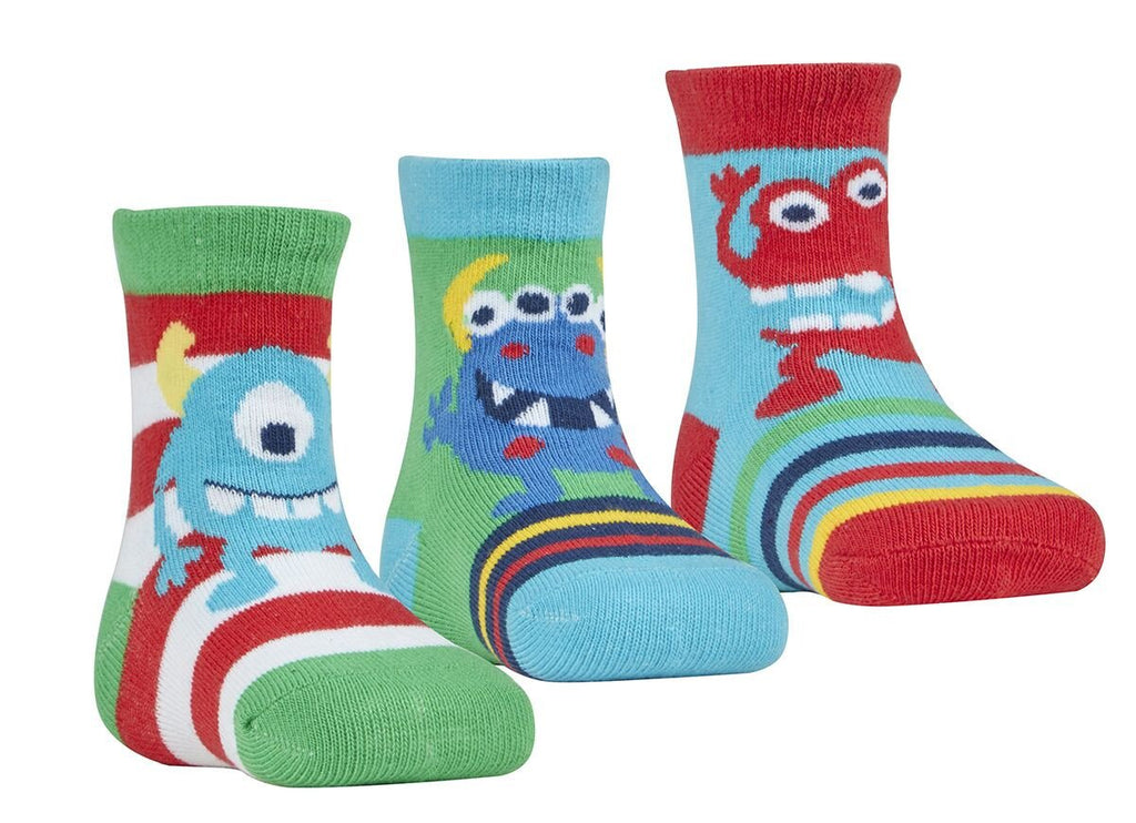 Baby Boys 3 Pack Monster Design Socks 44B533