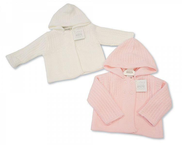 Knitted Baby Girls Pram Coat - NB/6M (Bw-1015-619) - Kidswholesale.co.uk