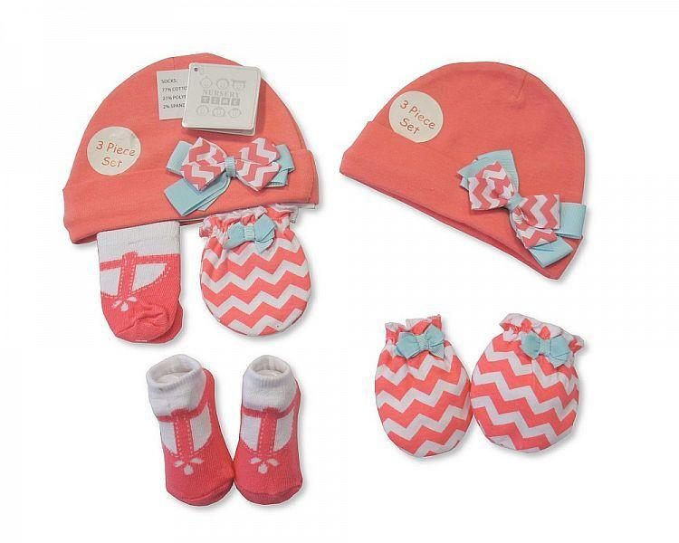 Baby Hat, Socks and Mitten Set - Bow