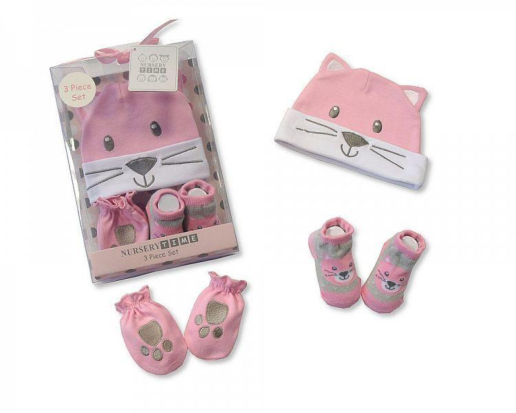 Baby Hat, Socks and Mitten Set in Box - Cat(Gp 2516-0679)