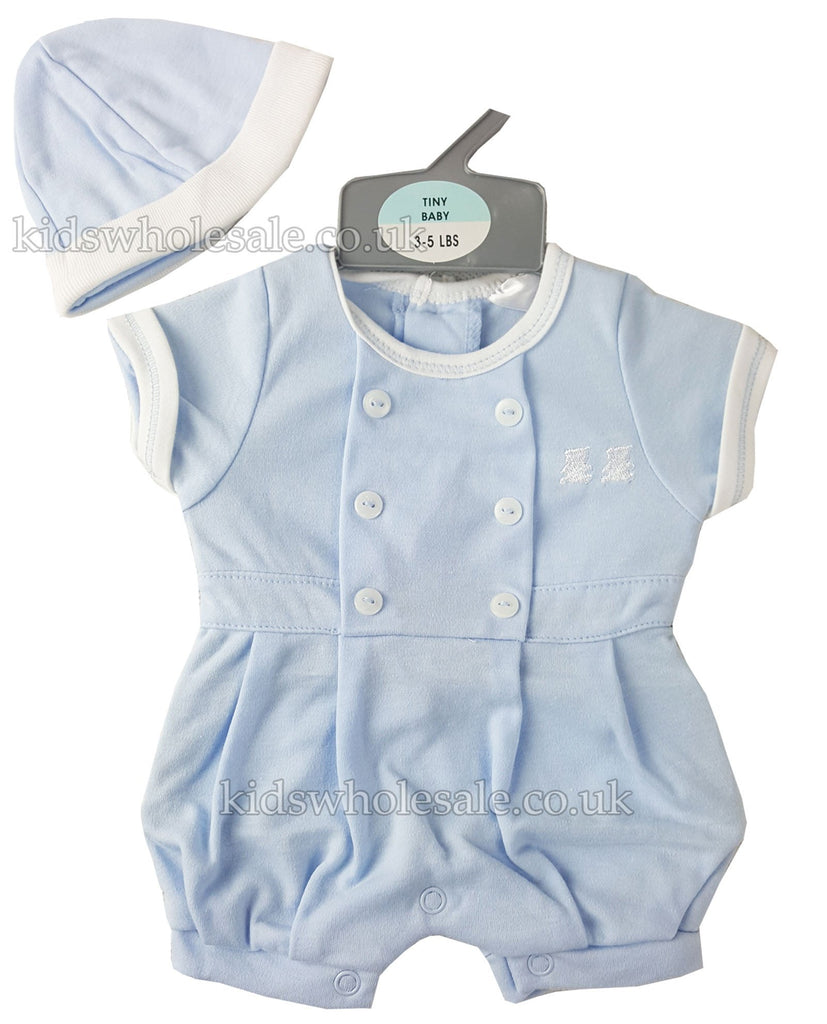 Premature Baby Boys Romper & Hat (40171)